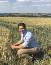 Bertie Matthews in the wheat fields above his family mill in Shipton under Wychwood.