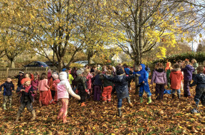 wychwoodschoolfun with autumn leaves